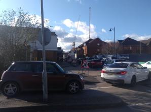 Cars backed up to the Waitrose car park due to roadworks
