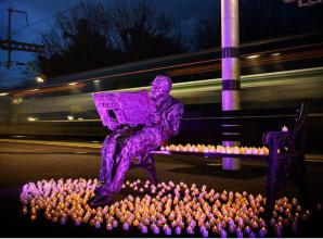 Sir Nicholas Winton statue lit up for Holocaust Memorial Day