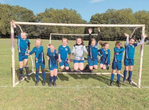 Youth football: Maidenhead B&G FC u9s jumping for joy after victory over Wargrave Tigers
